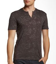 John Varvatos Star USA Men's Short Sleeve Burnout Eyelet Henley $98 msrp NWT