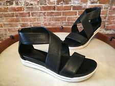 H by Halston Peyton Black Perforated Leather Crossover Sandal NEW