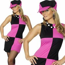 Ladies Swinging 60s 70s Costume Sixties Womens Fancy Dress Outfit & Hat 8-18