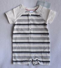 NWT Gymboree First Play Date Ivory Gray Striped Romper One Piece 3-6 M