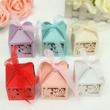 50pcs Mr Mrs Bride Groom Favor Ribbon Gift Box Candy Boxes Wedding Party Decor