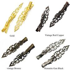 6Pcs Antique Alloy Prong Alligator Barrette Filigree Flower Hair Clips