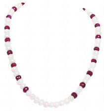 ruby gemstone faceted round bead with fresh water pearls-NM1034