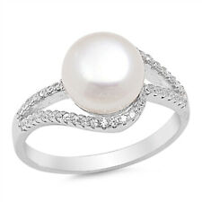 Women 12mm 925 Sterling Silver Freshwater Cultured Pearl CZ Bypass Ladies Ring