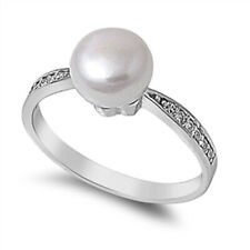 Women 8mm 925 Sterling Silver Freshwater Cultured Pearl CZ Ladies Ring Band