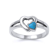 Women 8mm Sterling Silver Simulated Turquoise Double Heart Promise Ring Band
