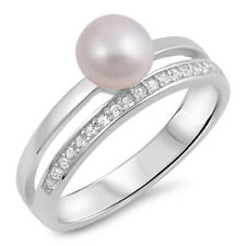 Women 6mm Sterling Silver Freshwater Cultured Pearl CZ Two Row Ladies Ring Band