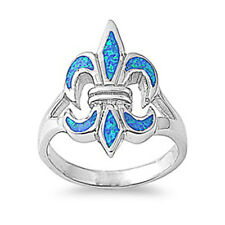 Women 22mm 925 Sterling Silver Simulated Blue Opal Fleur De Lis Ring Band
