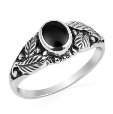 Men Women 7mm 925 Sterling Silver Simulated Black Onyx Leaf Ladies Ring Band
