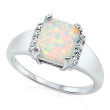 Women 11mm 925 Sterling Silver Square Simulated White Opal & CZ Ladies Ring Band