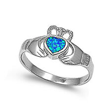 Women 10mm 925 Sterling Silver Simulated Blue Opal Claddagh Ring Band