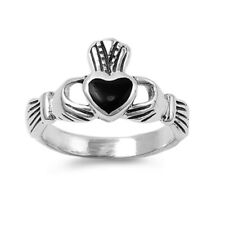 Women 11mm 925 Sterling Silver Simulated Black Onyx Heart Claddagh Ring Band