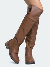 Women's Knee High Riding Boot *NEW* Cognac Distressed, Buckles, Quipid Relax-01X