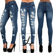 New Women Ripped Knee Jeans Ladies Sexy Blue Skinny Jeans Size 6 8 10 12 14