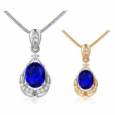 MODOU Oval Blue Sapphire Round White Topaz 18K Gold Filled Pendant Necklace 18""