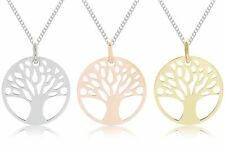 925 Sterling Silver Yellow Rose Gold TREE OF LIFE Pendant & CURB Chain Necklace