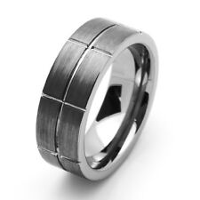 Men 8MM Comfort Fit Tungsten Carbide Wedding Band Grooved Flat Ring / Gift box
