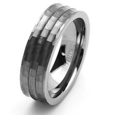 Men 7MM Comfort Fit Tungsten Carbide Wedding Band Hammered Ring / GIFT BOX
