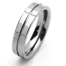 Men 6MM Comfort Fit Tungsten Carbide Wedding Band Groved Shiny Ring / GIFT BOX