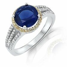 Brilliant Blue Sapphire Gold Citrine Halo Sterling Silver Engagement Ring