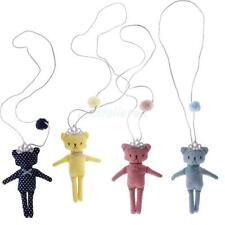 Girls Kids Lovely Cute Cartoon Dots Bear with Crown Pendant Sweather Necklace
