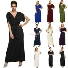 Sexy Women Lady Batwing Sleeve Deep V Neck Long Dress Party Evening casual FV88