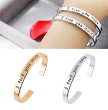 """""""I Love You More"""" Cuff Bracelet Sterling Silver & Gold Plated Gift Love Hearts"""