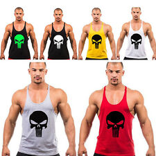 Stylish Mens Cool Skull Printed Fitness Gym Sports Vest Tops Bodybuilding Shirt