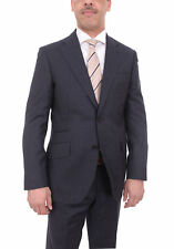 Mens Napoli Slim Fit Navy Flannel Chalk Stripe Half Canvassed Marzotto Wool Suit
