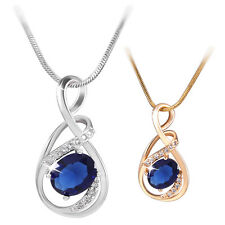 """Fashion 18K Gold/White Gold Filled Oval Cut Sapphire Pendant Necklace Chain 18"""""""