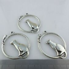 10/20/160pcs Tibetan Silver Mouse and Cat Charms Crafts Pendants 26x32mm