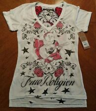 NWT $79.00 True Religion Womens White Graphic Roll Up Sleeve V Neck T-Shirt.....