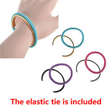 Stainless Steel Titanium Hair Tie Holder Bracelet Cuff Bangle Wristband Groove