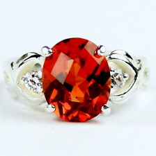 • SR243, Created Padparadsha Sapphire w/ 2 Accents, Sterling Silver Ladies Ring