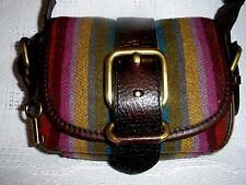 FOSSIL Vintage Legacy Cross Body Wool with Brown Leather Trim Purse~NICE!!
