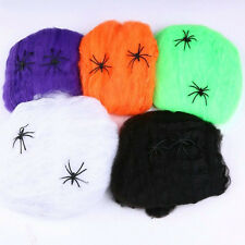 New Spider Web Halloween Props Stretchy Cobweb Spider Home Party Bar Decoration