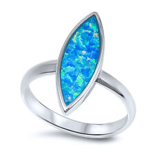 Fine Women 20mm 925 Silver Marquise Simulated Blue Opal Modern Ladies Ring Band