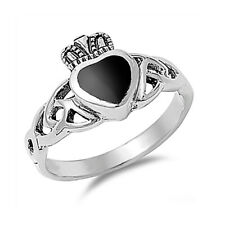 Fine Men 11mm 925 Silver Simulated Black Onyx Heart Celtic Claddagh Ring Band