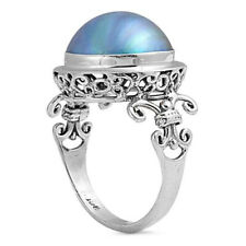 Fine Women 17mm Silver Bali Freshwater Cultured Mabe Pearl Cocktail Ring Band