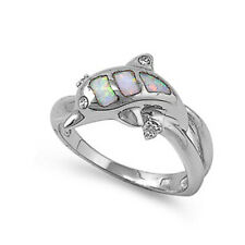 Fine Women 11mm 925 Sterling Silver Simulate White Opal Dolphin Ladies Ring Band