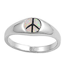 Fine Men Women 7mm 925 Sterling Silver Simulated Pink Opal Peace Sign Ring Band