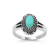 Fine Women 14mm 925 Sterling Silver Oval Simulated Turquoise Vintage Ring Band