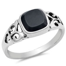 Fine Women 8mm 925 Sterling Silver Simulate Black Onyx Filigree Ladies Ring Band