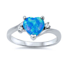 Fine Women 9mm 925 Sterling Silver Simulated Blue Opal CZ Heart Ladies Ring Band