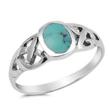 Fine Men Women 8mm 925 Sterling Silver Simulated Turquoise Celtic Knot Ring Band