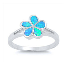 Fine Women 10mm 925 Silver Simulated Blue Opal Hawaiian Flower Ladies Ring Band