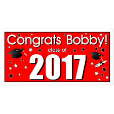 Class of 2017 Personalized Graduation Banner Red Party Backdrop
