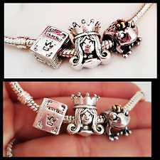 3PC 14k Happily Ever After fairy Fairytale book Princess crown frog Charm set