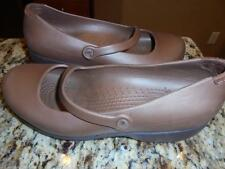 WOMENS CROCS MARY JANE SHOES HEELS SIZE 10 BROWN RUBBER PERFECT ~ LOW SHIPPING!