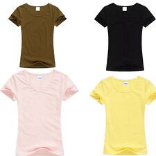 Color Tops Womens Ladies T-Shirt T Shirt Tops Solid Color O-neck Short Sleeve